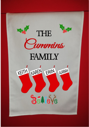 Personalised Family Stockings Christmas Tea Towel
